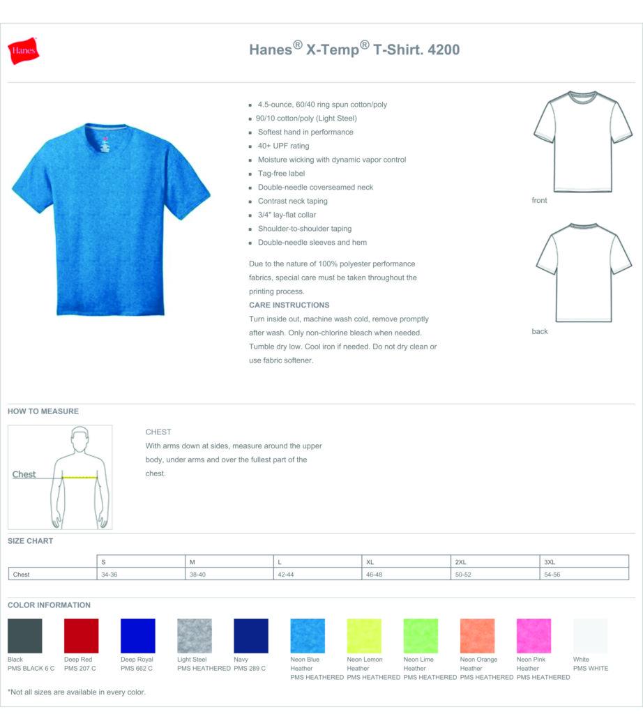 Hanes X-Temp Spec sheet